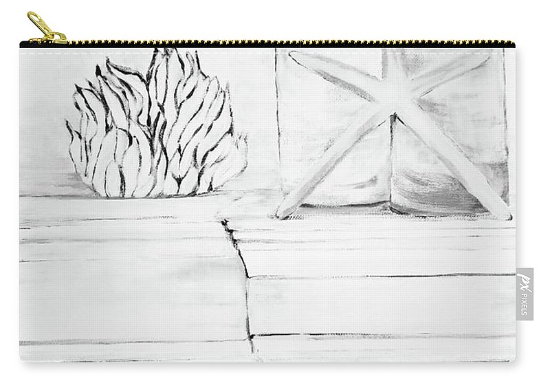 Carry-all Pouch featuring the drawing Beach by Mitzi Borota