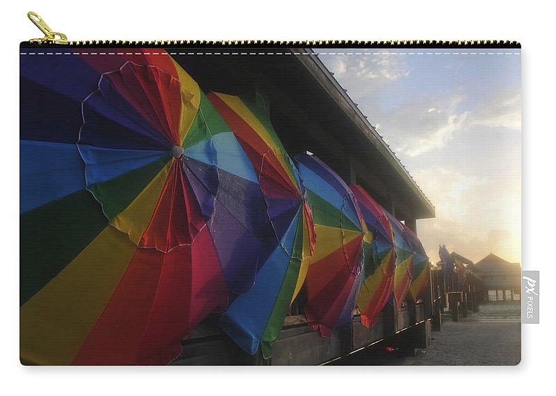Beach Carry-all Pouch featuring the photograph Beach Umbrella Row by David Lee Thompson