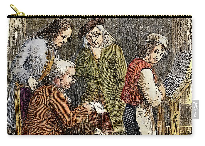 18th Century Carry-all Pouch featuring the drawing Benjamin Franklin by Granger