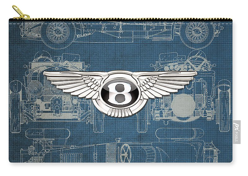 �wheels Of Fortune� By Serge Averbukh Carry-all Pouch featuring the photograph Bentley - 3 D Badge over 1930 Bentley 4.5 Liter Blower Vintage Blueprint by Serge Averbukh