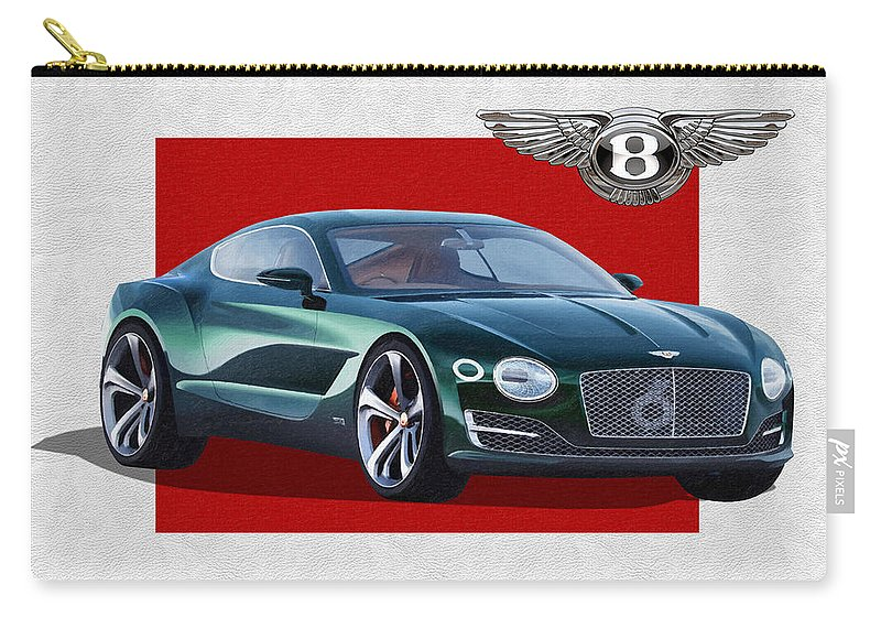 �bentley� Collection By Serge Averbukh Carry-all Pouch featuring the photograph Bentley E X P 10 Speed 6 with 3 D Badge by Serge Averbukh