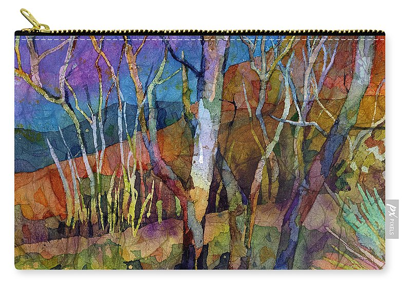 Trees Carry-all Pouch featuring the painting Beyond The Woods by Hailey E Herrera