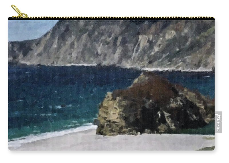 Big Carry-all Pouch featuring the digital art Big Sur California by Teresa Mucha