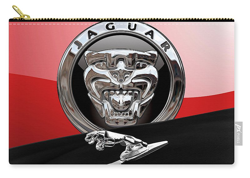 'auto Badges' Collection By Serge Averbukh Carry-all Pouch featuring the photograph Black Jaguar - Hood Ornaments And 3 D Badge On Red by Serge Averbukh