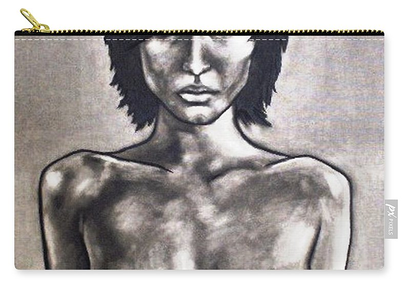 Nude Carry-all Pouch featuring the painting Black by Thomas Valentine