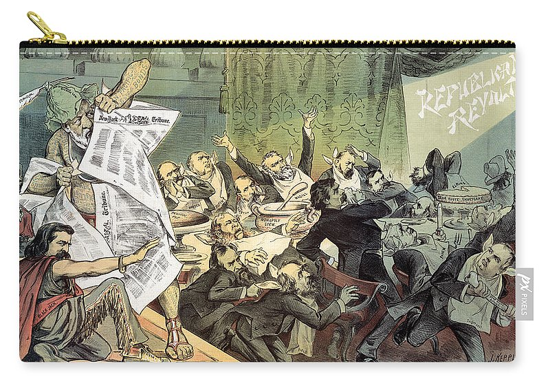 1884 Carry-all Pouch featuring the photograph Blaine Cartoon, 1884 by Granger