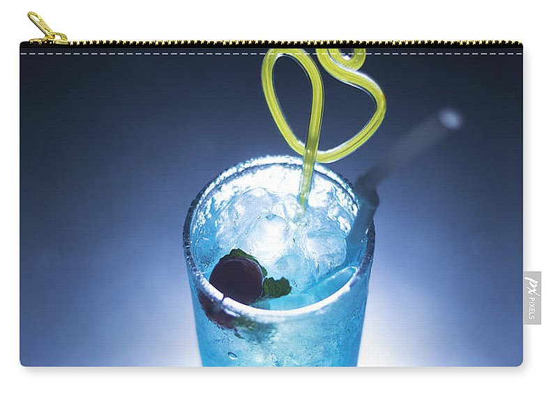 Alcohol Carry-all Pouch featuring the photograph Blue Curacao Cocktail Drink With Cherry by Jacek Malipan