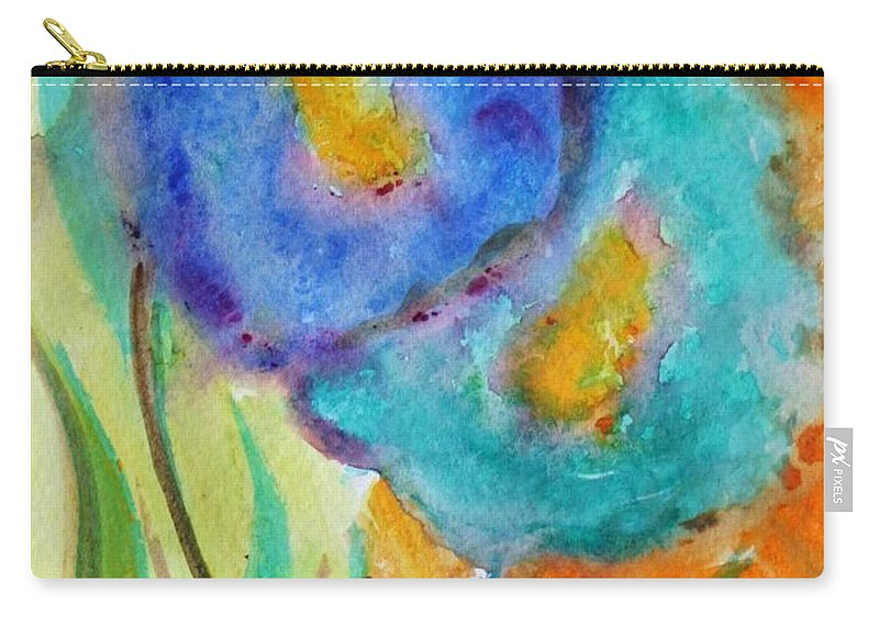 Flowers Carry-all Pouch featuring the painting Blue Flowers by Luiza Vizoli