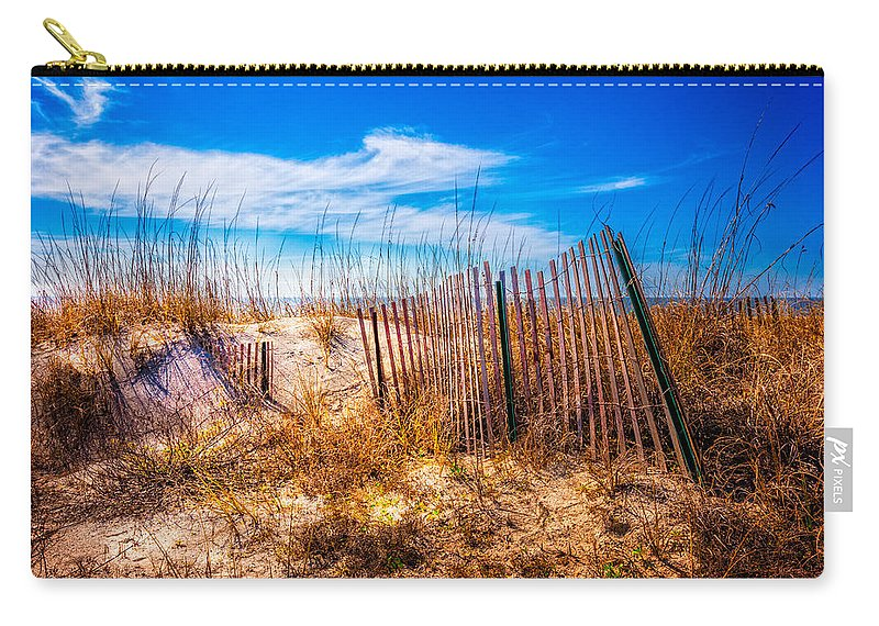 Clouds Carry-all Pouch featuring the photograph Blue Sky Over The Dunes by Debra and Dave Vanderlaan