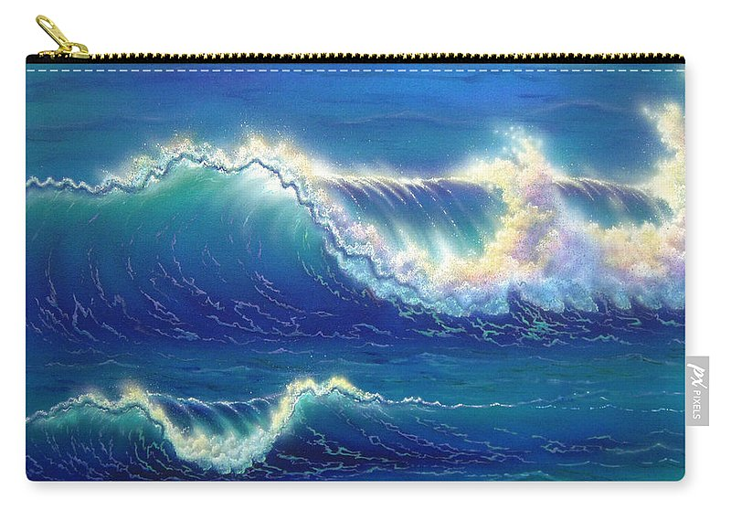Blue Carry-all Pouch featuring the painting Blue Thunder by Angie Hamlin