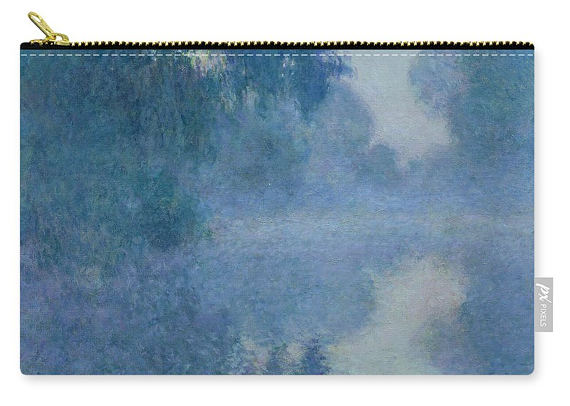 Impressionist; River; Reflection; Fog; Foggy; Misty; Mist; Branch; Seine; Giverny; Claude Monet; Monet; Tree; Trees Carry-all Pouch featuring the painting Branch of the Seine near Giverny by Claude Monet