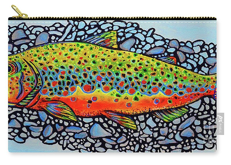 Fish Carry-all Pouch featuring the painting Brown Trout by Nicolette Maw