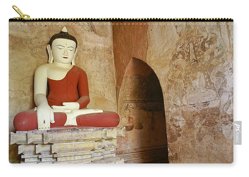 Buddha Carry-all Pouch featuring the photograph Buddha In A Niche 1 by Michele Burgess
