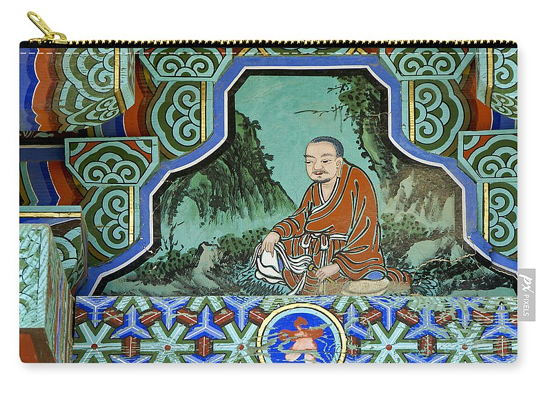 Buddha Carry-all Pouch featuring the photograph Buddhist Temple Art by Michele Burgess