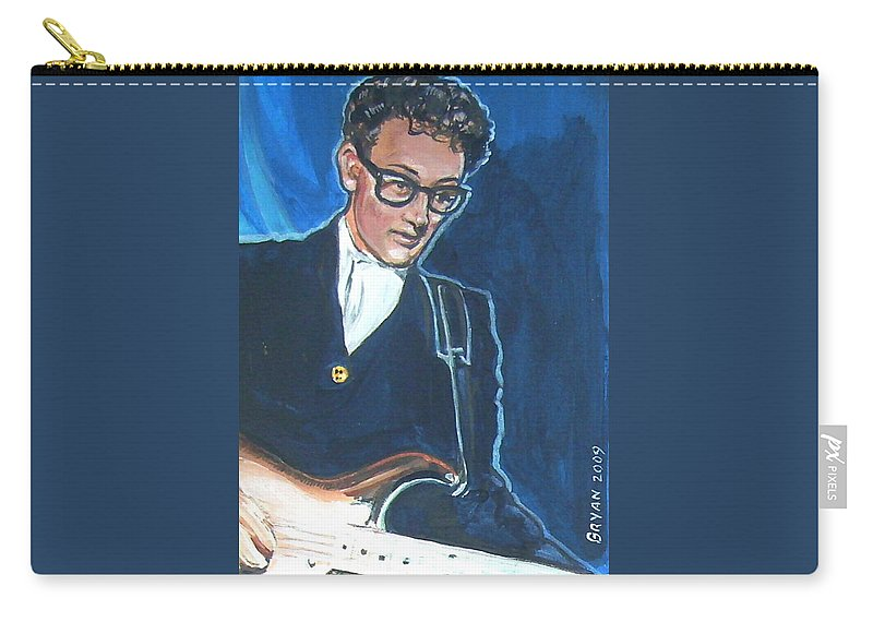 Buddy Holly Carry-all Pouch featuring the painting Buddy Holly by Bryan Bustard