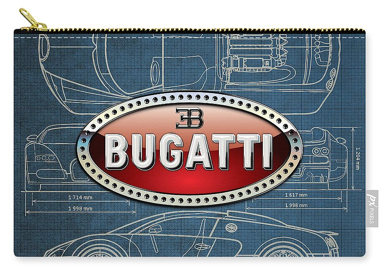 �wheels Of Fortune� By Serge Averbukh Carry-all Pouch featuring the photograph Bugatti 3 D Badge over Bugatti Veyron Grand Sport Blueprint by Serge Averbukh