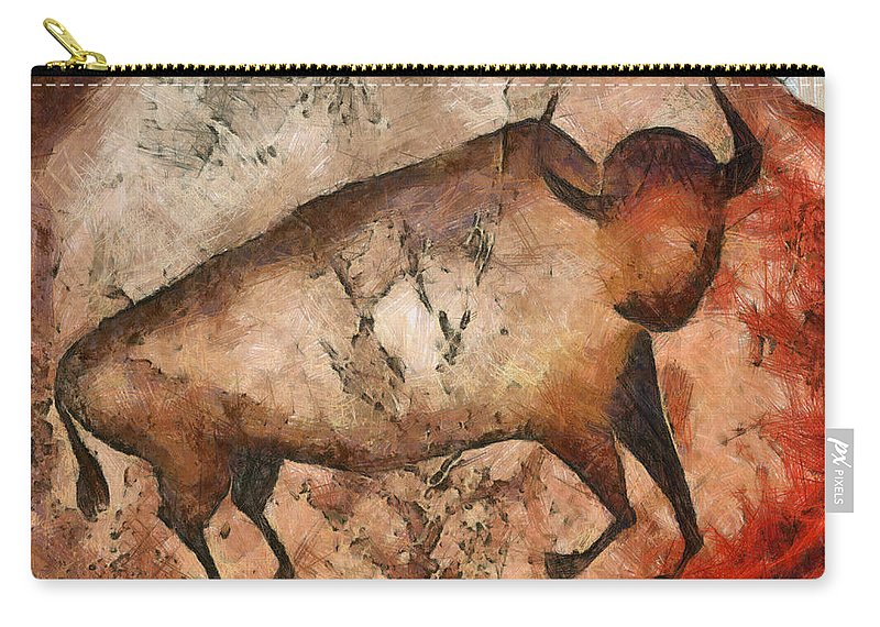 Abstract Carry-all Pouch featuring the mixed media Bull A La Altamira by Michal Boubin