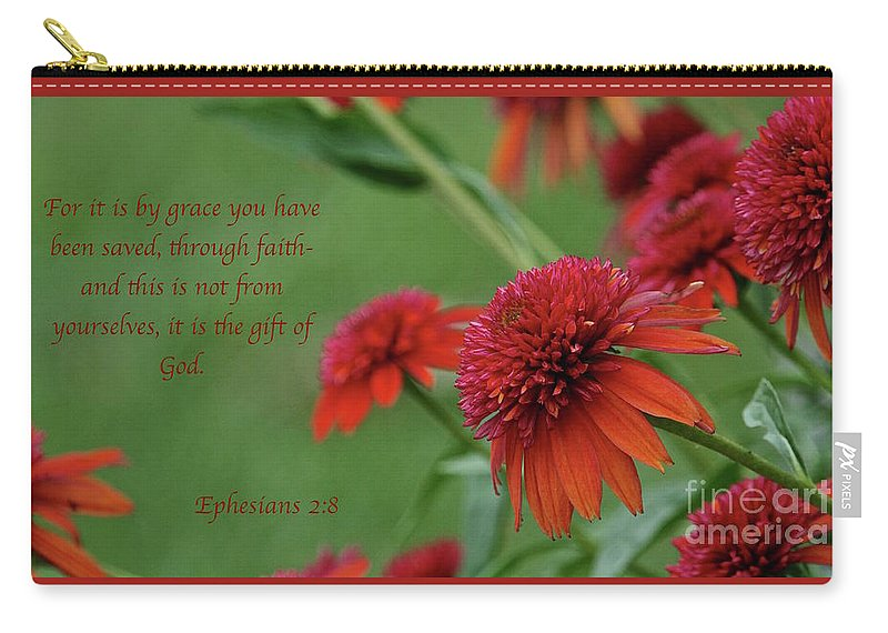Coneflower Carry-all Pouch featuring the photograph By Grace You Have Been Saved by Robin Erisman