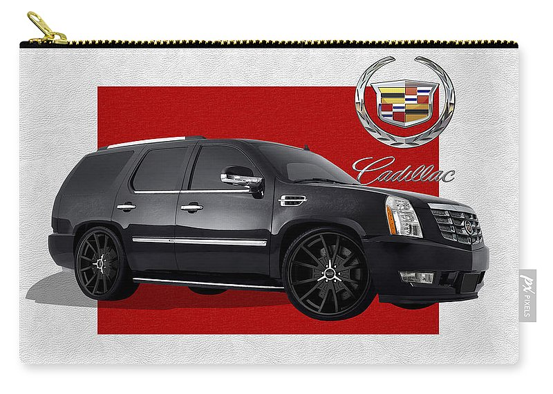 �cadillac� By Serge Averbukh Carry-all Pouch featuring the photograph Cadillac Escalade with 3 D Badge by Serge Averbukh