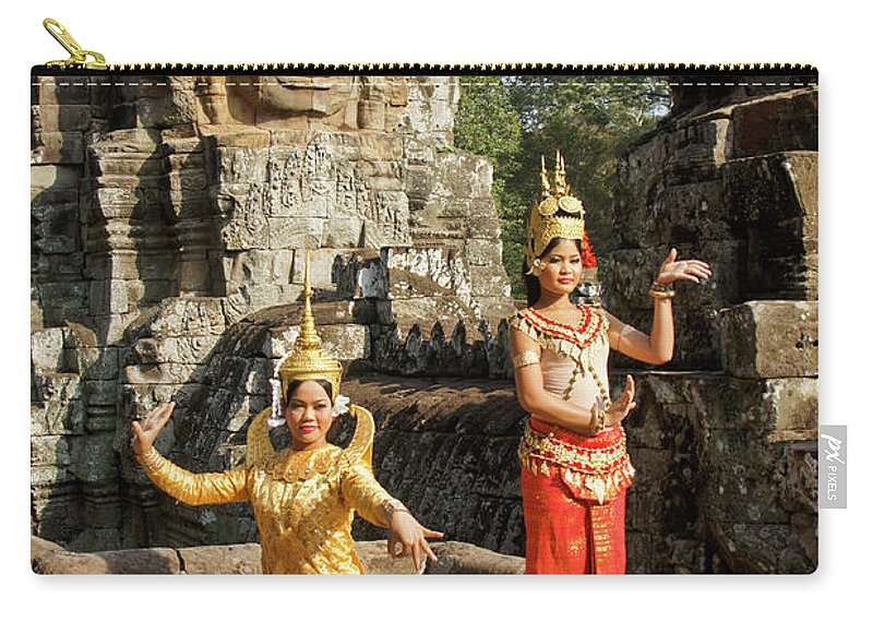 Asia Carry-all Pouch featuring the photograph Cambodian Dancers At Angkor Thom by Michele Burgess
