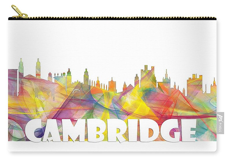 Cambridge England Skyline Carry-all Pouch featuring the digital art Cambridge England Skyline by Marlene Watson