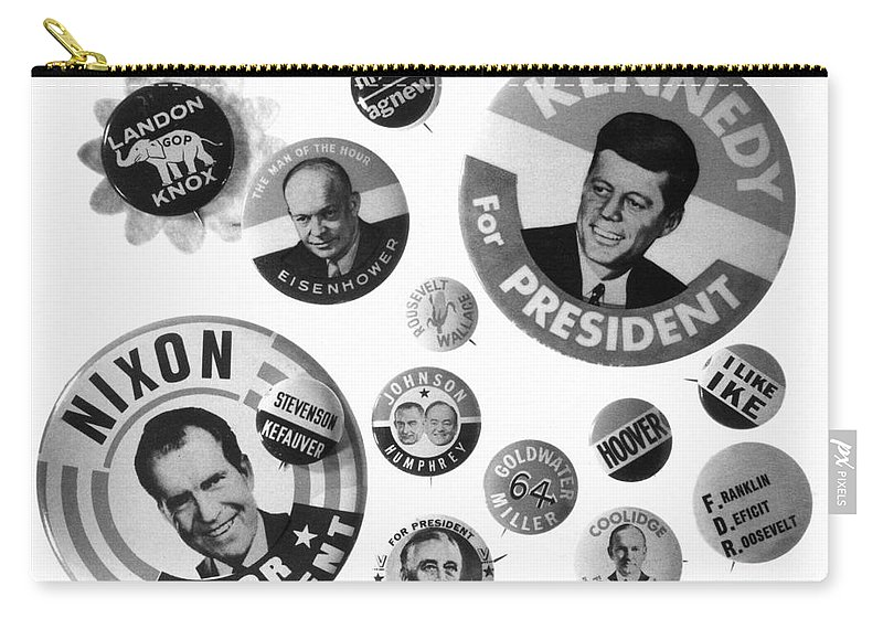 20th Century Carry-all Pouch featuring the photograph Campaign Buttons by Granger