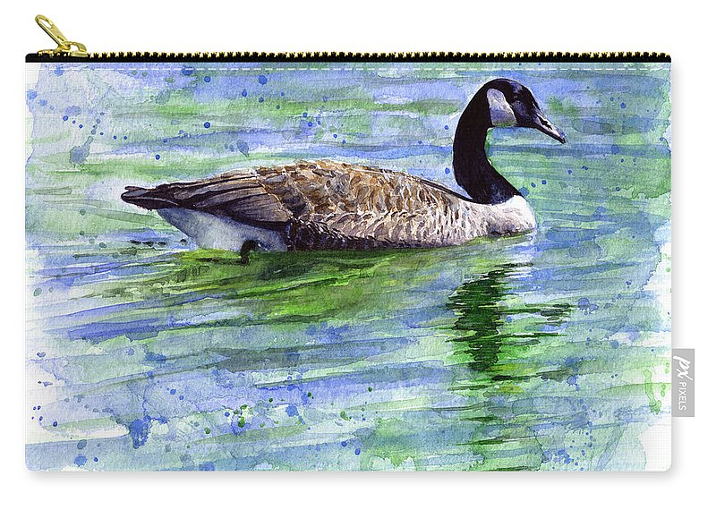 Bird Carry-all Pouch featuring the painting Canada Goose by John D Benson