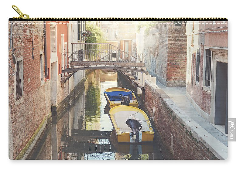 History Carry-all Pouch featuring the photograph Canals Of Venice With Instagram Vintage Style Filter by Brandon Bourdages