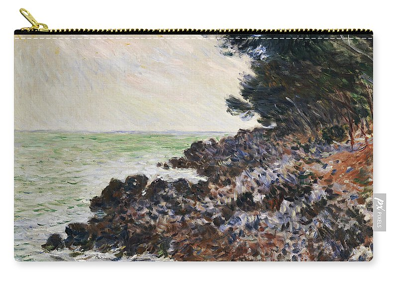 Cap Martin (oil On Canvas) Impressionism; Impressionist; Landscape; Seascape; Tree; Rock; Rocky; Coast; Coastal; Sea; Ocean; French Carry-all Pouch featuring the painting Cap Martin by Claude Monet