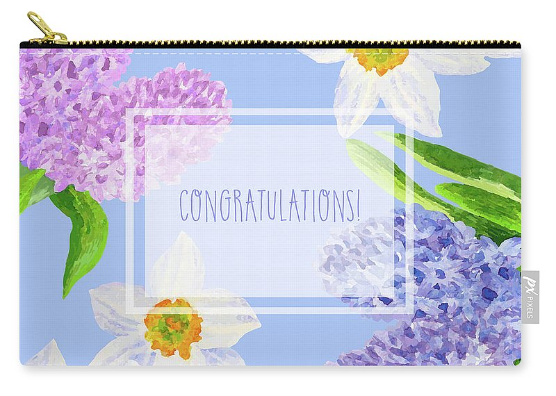 Bouquet Carry-all Pouch featuring the digital art Card With Spring Flowers by Natalia Piacheva