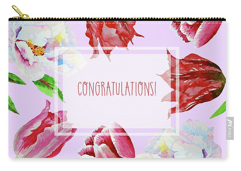 Bouquet Carry-all Pouch featuring the digital art Card With Tulips And Peonies by Natalia Piacheva