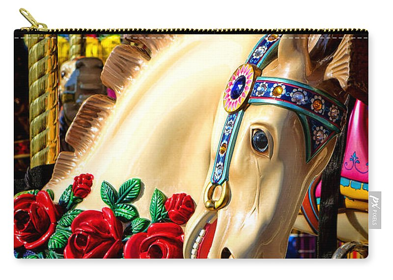 Merry Carry-all Pouch featuring the photograph Carousel Horse by Olivier Le Queinec