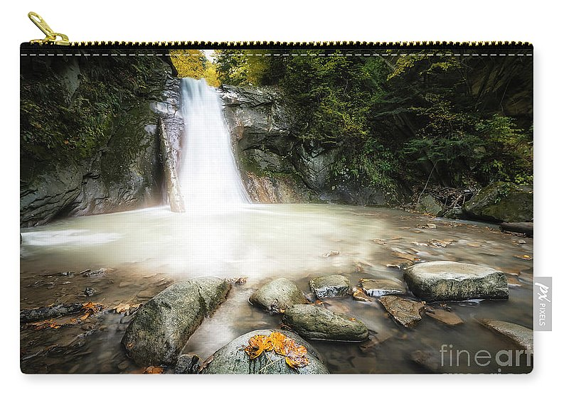 #waterfall #nature #season #motion #rocks #water #forest #autumn #landscape Carry-all Pouch featuring the photograph Casoca Waterfall by Constantin Carip