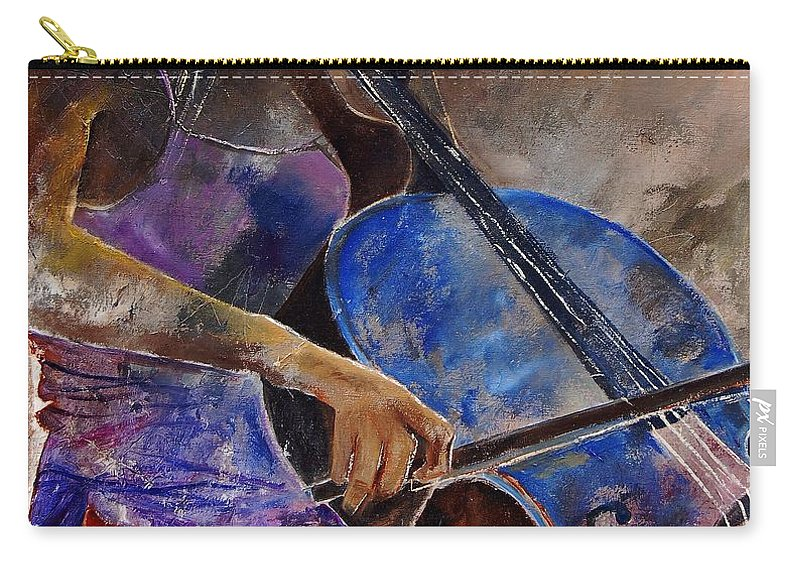 Music Carry-all Pouch featuring the painting Cello Player by Pol Ledent