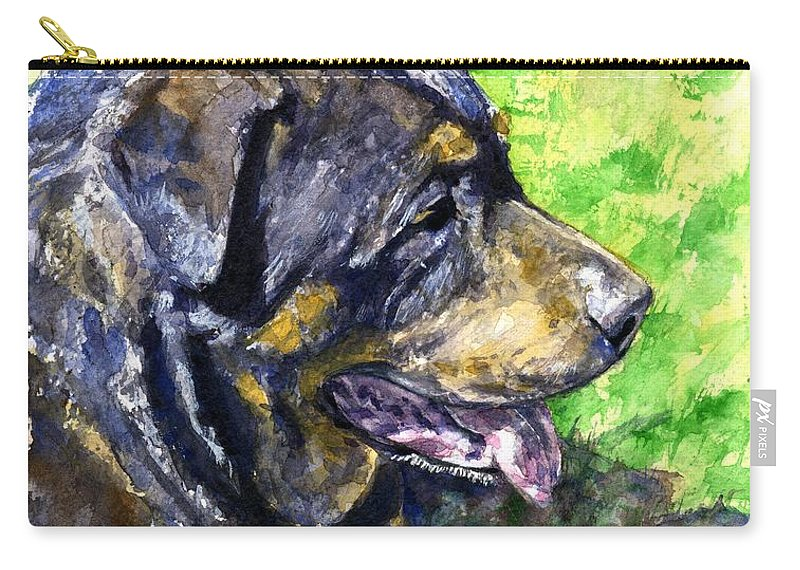 Rottweiler Carry-all Pouch featuring the painting Chaos by John D Benson