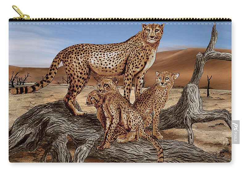 Cheetah Family Tree Carry-all Pouch featuring the drawing Cheetah Family Tree by Peter Piatt
