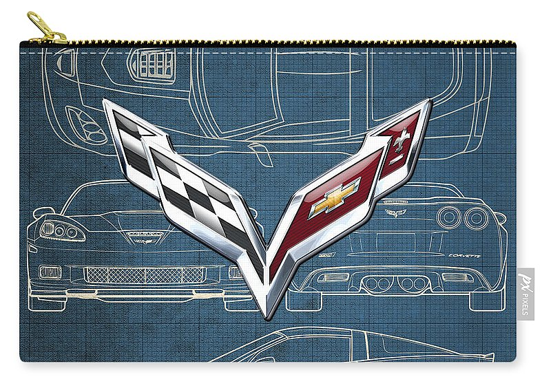 �wheels Of Fortune� By Serge Averbukh Carry-all Pouch featuring the photograph Chevrolet Corvette 3 D Badge over Corvette C 6 Z R 1 Blueprint by Serge Averbukh