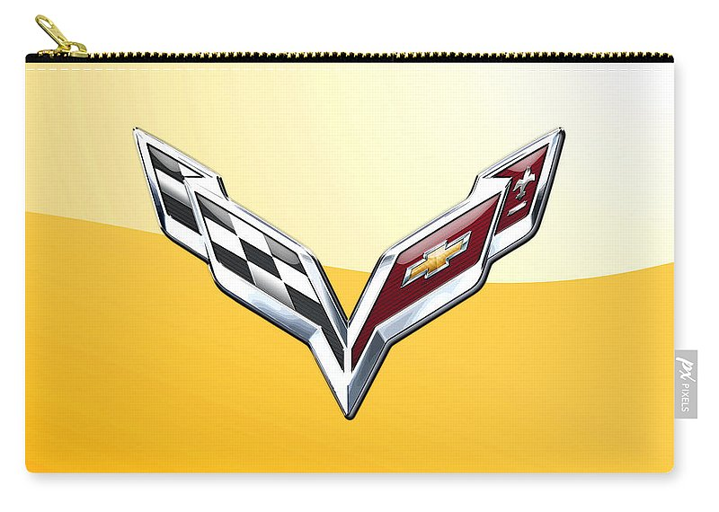 �wheels Of Fortune� Collection By Serge Averbukh Carry-all Pouch featuring the photograph Chevrolet Corvette 3D Badge on Yellow by Serge Averbukh