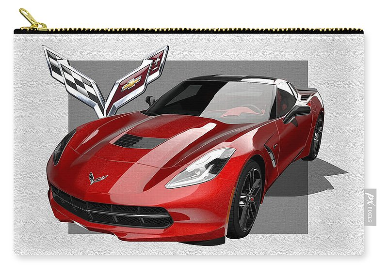 �chevrolet Corvette� By Serge Averbukh Carry-all Pouch featuring the photograph Chevrolet Corvette C 7 Stingray With 3 D Badge by Serge Averbukh