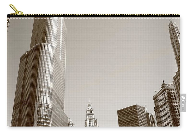 America Carry-all Pouch featuring the photograph Chicago River And Skyline by Frank Romeo
