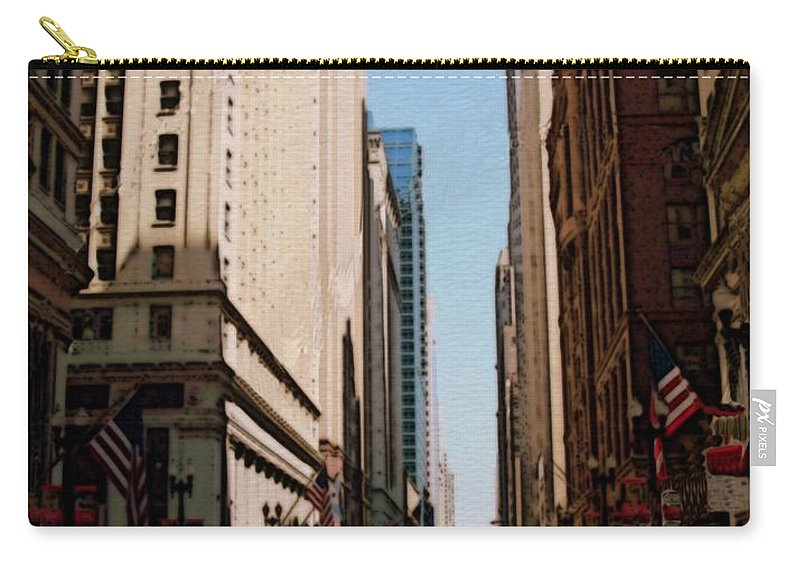 Chicago Carry-all Pouch featuring the digital art Chicago Street With Flags by Anita Burgermeister