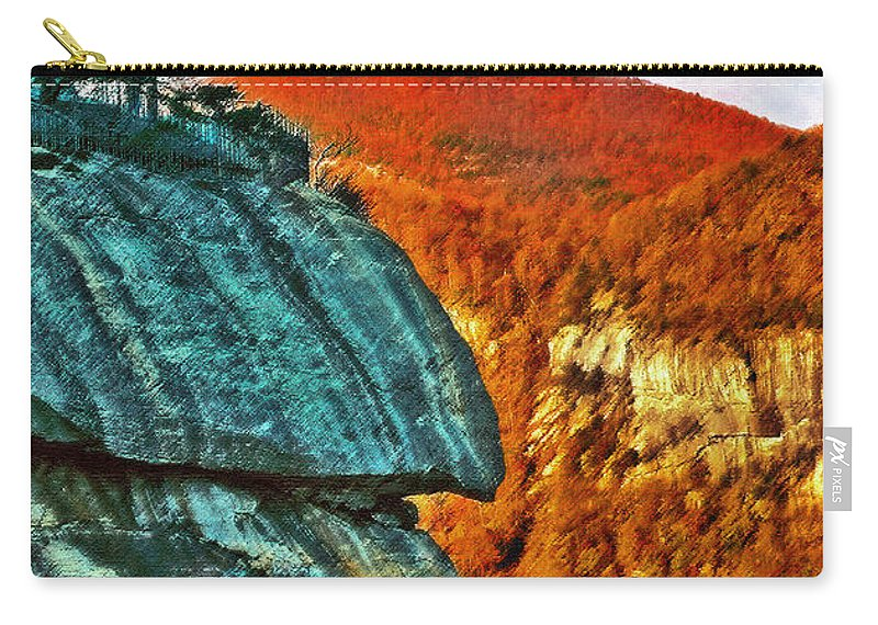 Landscape Carry-all Pouch featuring the painting Chimney Rock by Steve Karol