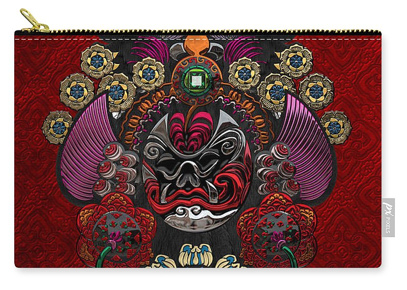 �treasures Of China� By Serge Averbukh Carry-all Pouch featuring the photograph Chinese Masks - Large Masks Series - The Demon by Serge Averbukh