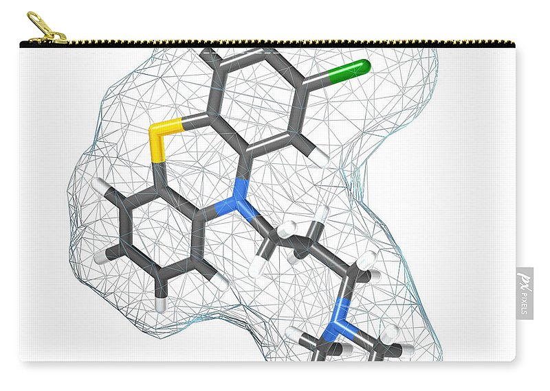 Chlorpromazine Carry-all Pouch featuring the photograph Chlorpromazine, Molecular Model by Spencer Sutton