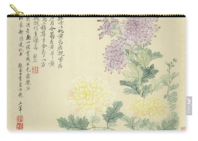 Chrysanthemum Carry-all Pouch featuring the painting Chrysanthemum by Yun Shouping