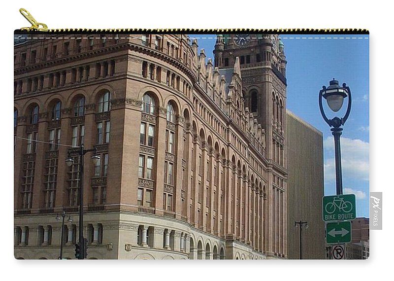 Milwaukee Carry-all Pouch featuring the photograph City Hall And Lamp Post by Anita Burgermeister