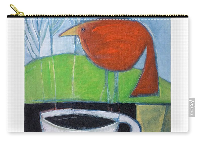 Bird Carry-all Pouch featuring the painting Coffee With Red Bird by Tim Nyberg