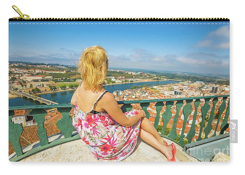 Coimbra Carry-all Pouch featuring the photograph Coimbra Cityscape Woman by Benny Marty