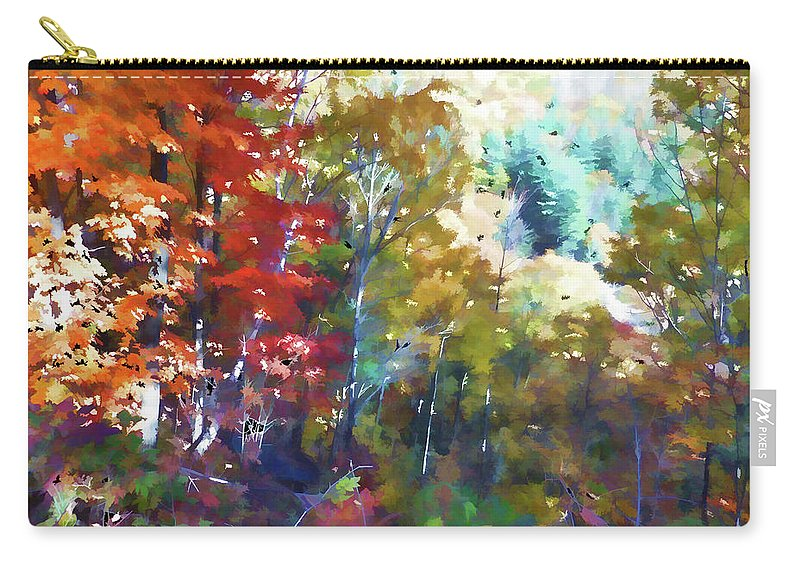 Colorful Autumn Trees In Forest Carry-all Pouch featuring the painting Colorful Autumn Trees In Forest by Jeelan Clark