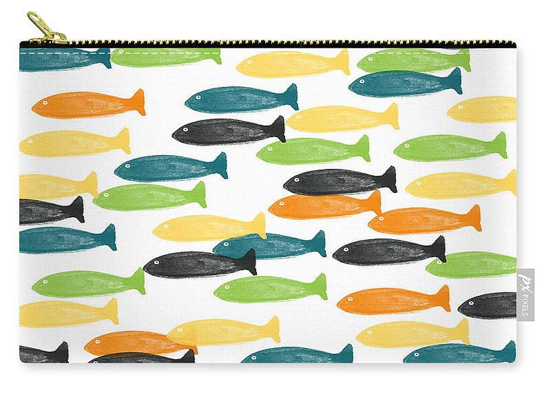 Fish Carry-all Pouch featuring the painting Colorful Fish by Linda Woods